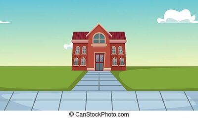 School building cartoon HD animation - School building at ...