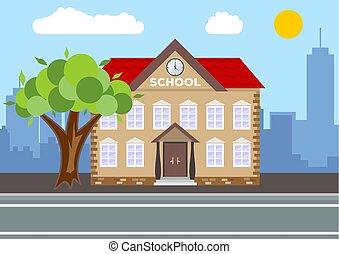 School building. City landscape concept. Flat design. Vector illustration.