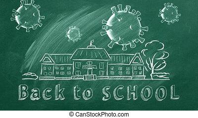 Back to School - School building, coronavirus cells and ...