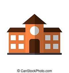 school building education flat icon with shadow