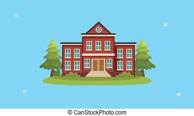 school building facade schoolar scene ,4k video animated