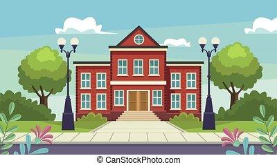 school building facade urban scene ,4k video animated