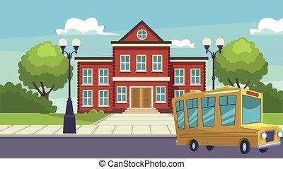 school building facade with bus scene ,4k video animated