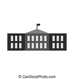 school building flat icon vector illustration design