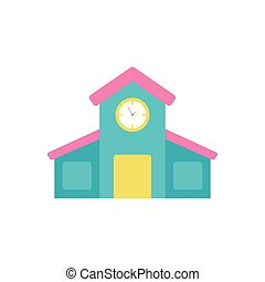 school building flat style icon