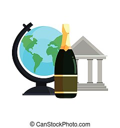 school building globe and champagne
