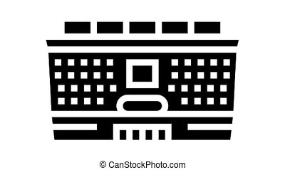 school building animated glyph icon. school building sign. isolated on white background