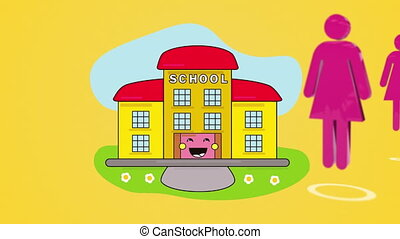 Digital animation of School building icon over digital humans moving against yellow background. Education and school concept