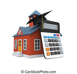 School Building Icon and Calculator isolated on white...