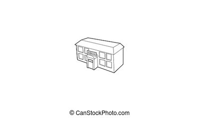 School building icon animation best outline object on white background