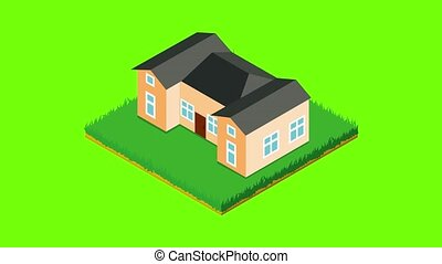 School building icon animation cartoon best object on green screen background