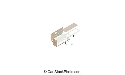 School building icon animation isometric best object on white backgound
