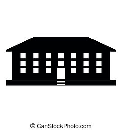 School building icon black color illustration flat style simple image