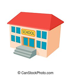 School building icon, cartoon style
