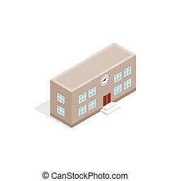 School building icon, isometric 3d style