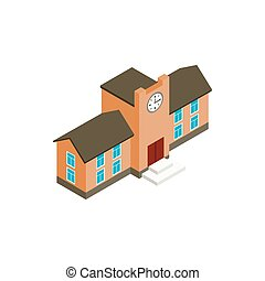 School building icon, isometric 3d style