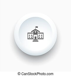 School building icon on a 3D white button