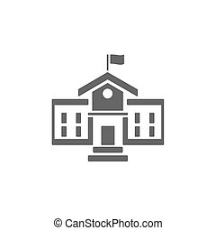 School building icon on a white background
