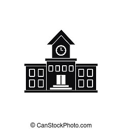 School building icon, simple style