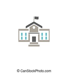 School building icon with color on white background