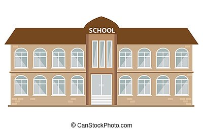 School building icon with flat color style. Illustrated vector.