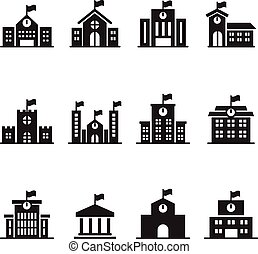 School building icons set