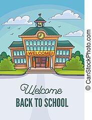 School building illustration for banner or poster design.