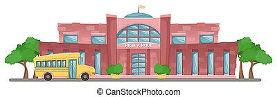 School building in cartoon style. Flat horizontal landscape. School yellow bus.