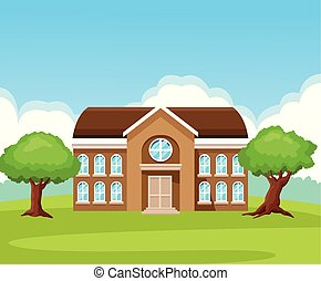 School building in nature cartoons