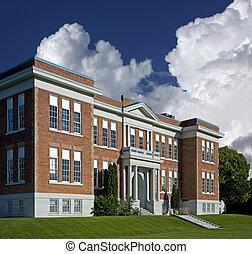 School building in North America - Brick school in North...