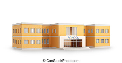 School building, isolated on white background. 3D ...