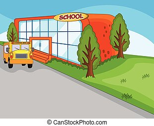 School building, landmark and school bus cartoon
