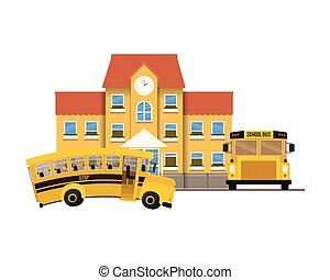 school building of primary with bus icon