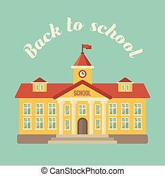 School building on blue background flat illustration. Back to school