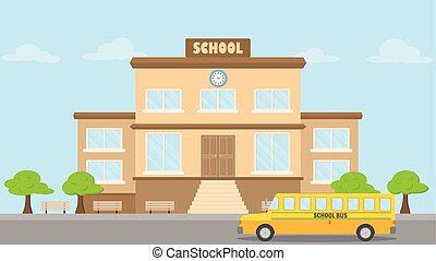 School building, school bus flat style, back to school concept, vector illustration