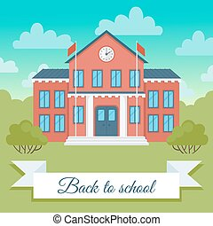 School building  vector  illustration.
