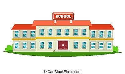 School Building Vector. Modern Education City Construction. Urban Sign. Font Yard. Isolated Flat Cartoon Illustration