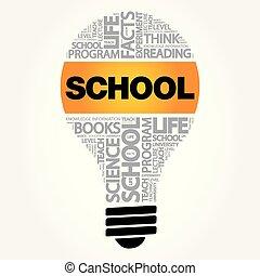 SCHOOL bulb word cloud collage