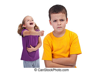 School bully and mockery concept with laughing girl and...