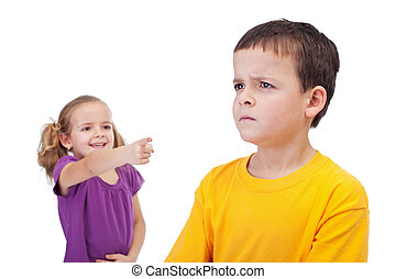 School bullying concept with girl mocking boy