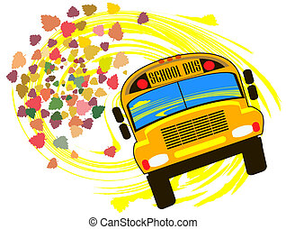 School bus against the backdrop of autumn leaves falling