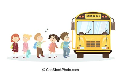 School bus and children.