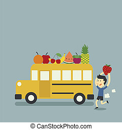 school bus and fruit