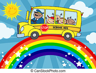 School Bus Around Rainbow - School Bus With Happy Children...