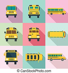 School bus back kids icons set, flat style