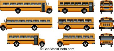 School bus back kids icons set, realistic style