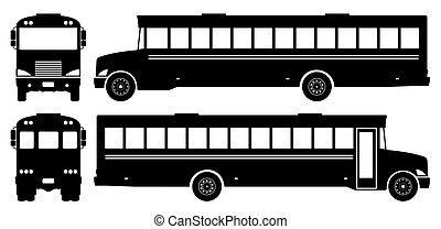 School bus black icons vector illustration