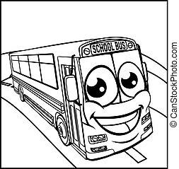 School Bus Cartoon Character Mascot Scene