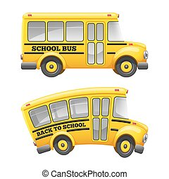 School bus - Cute cartoon school bus. Isolated on white...