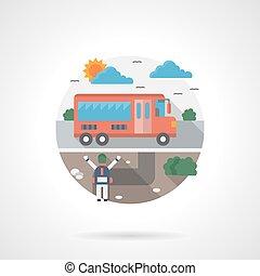 School bus detailed flat color vector icon
